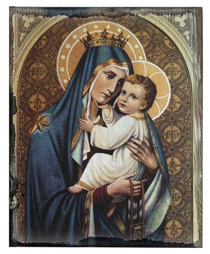 Plaque Mary Our Lady Mt Carmel 5 x 7 Rustic Cedar