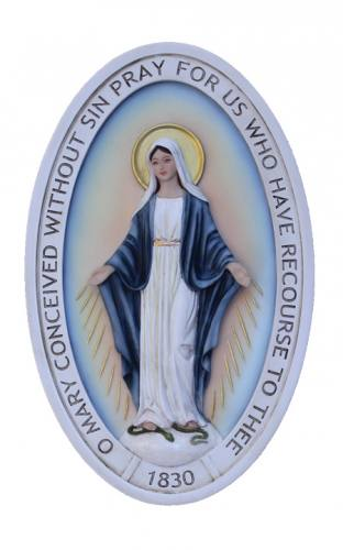 Plaque Our Lady of Miraculous Medal 5 x 8 Resin Hand Painted