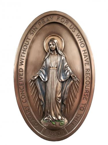 Plaque Our Lady of Miraculous Medal 5 x 8 Bronze Resin