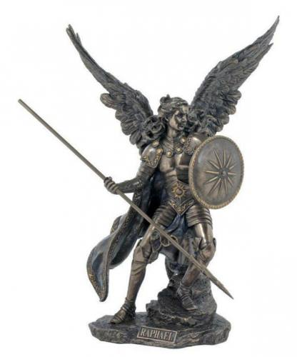 Statue St Raphael Archangel 13.5 Inch Resin Bronze Painted