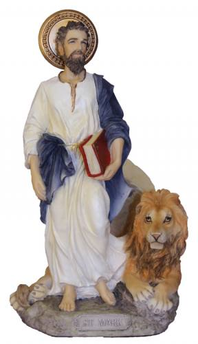 Statue St Mark 8 Inch Resin Painted