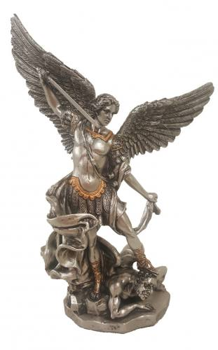 Statue Saint Michael 8 inch Resin Pewter