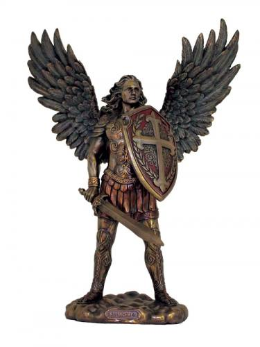 Statue St Michael Archangel 11 Inch Resin Bronze Painted