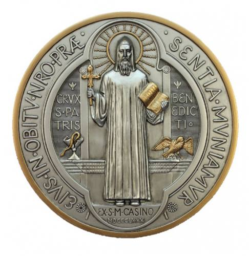 Plaque St Benedict 7 Inch Pewter Resin