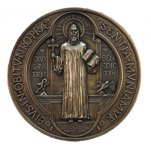 Plaque St Benedict 7 Inch Bronze Resin
