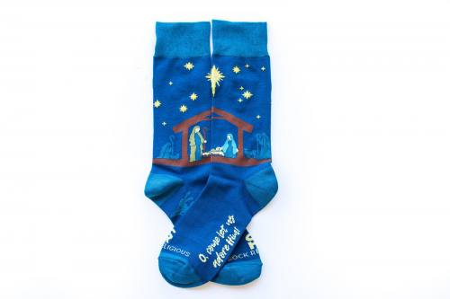Sock Religious Nativity Socks Adult Cotton Nylon Spandex