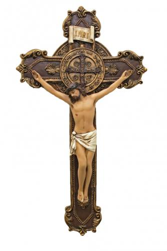 Crucifix Wall St Benedict 11 inch Hand Painted