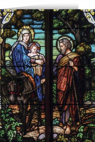 Christmas Cards Flight Into Egypt Stained Glass Box of 25