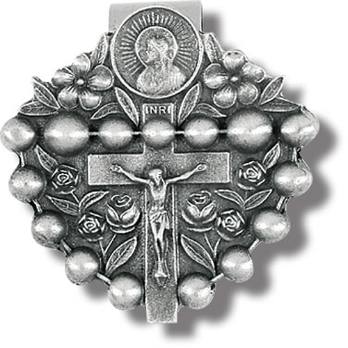 Visor Clip Crucifix & Rosary Pewter Silver