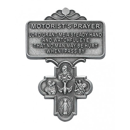 "Visor Clip Four Way Medal ""Motorist Prayer"" Pewter Silver"