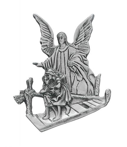 Visor Clip Guardian Angel Silhouette Pewter Silver