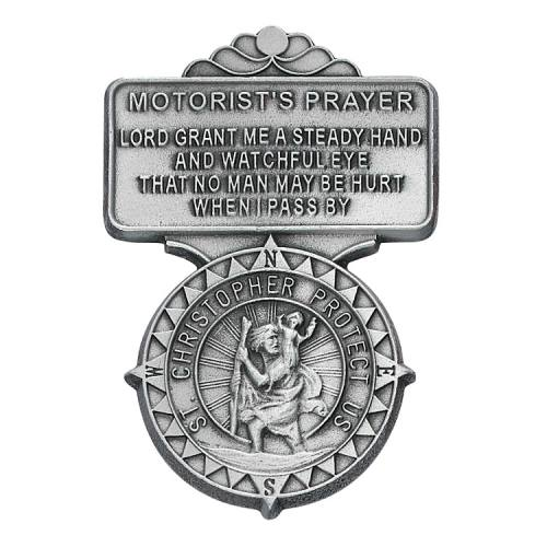 "Visor Clip St Christopher ""Points of Safety"" Medal Pewter Silver"