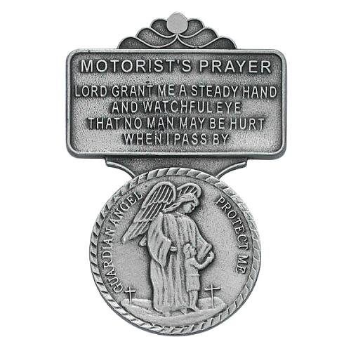 "Visor Clip Guardian Angel Medal ""Motorist Prayer"" Pewter Silver"