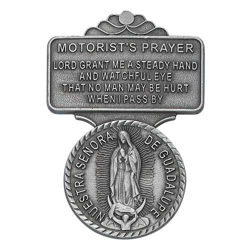 "Visor Clip Mary Our Lady Guadalupe Medal ""Motor Prayer"" Pewter"
