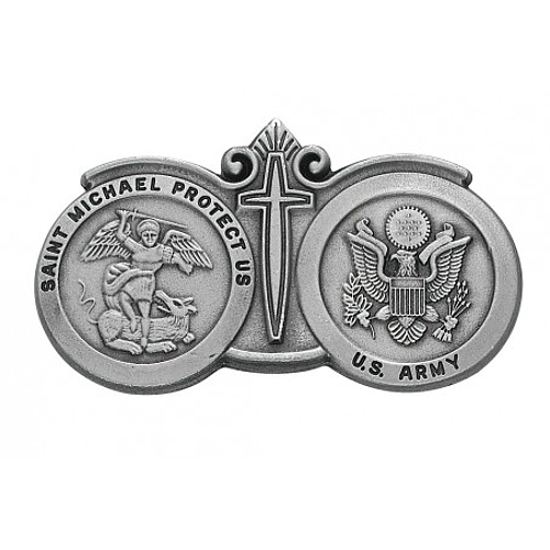 Visor Clip St Michael Archangel & US Army Medals Pewter Silver