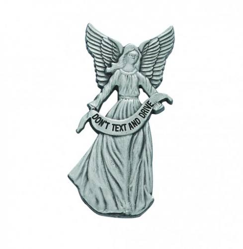 "Visor Clip Guardian Angel ""Don't Text & Drive"" Pewter Silver"
