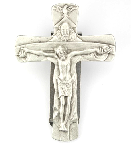 Visor Clip Crucifix Blessed Trinity Pewter Silver