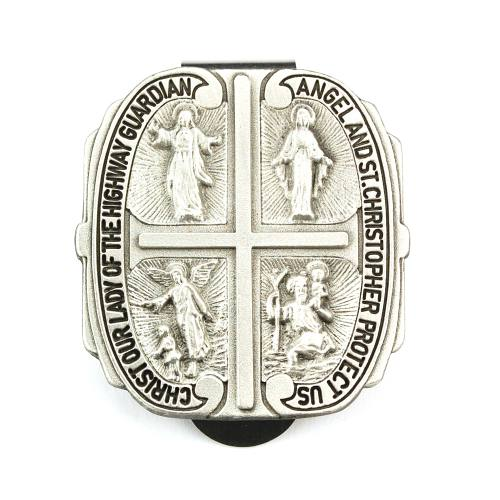 Visor Clip Four Way Shield Medal Pewter Silver