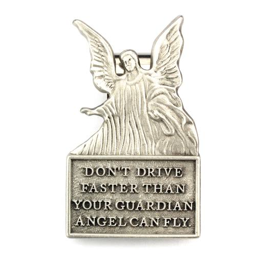 "Visor Clip Guardian Angel ""Don't Drive Faster"" Pewter Silver"
