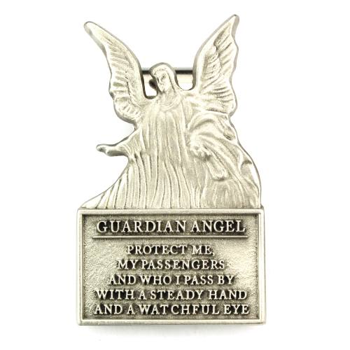 "Visor Clip Guardian Angel ""Protect Me"" Prayer Pewter Silver"
