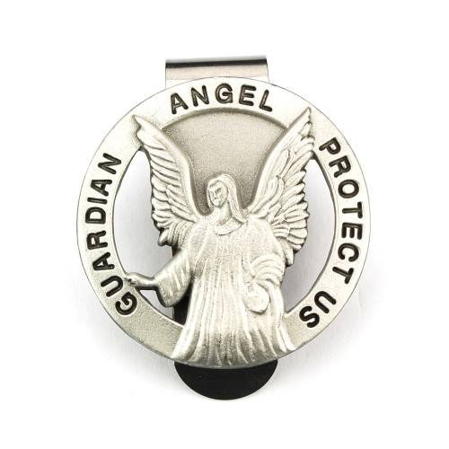 Visor Clip Guardian Angel Medal Cut Pewter Silver