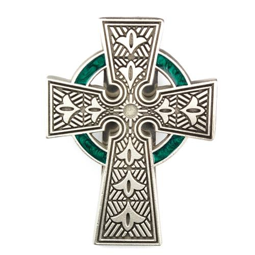 Visor Clip Celtic Cross Pewter Silver Enameled