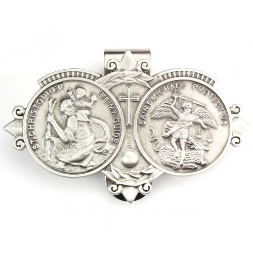Visor Clip St Christopher & St Michael Medals Pewter Silver