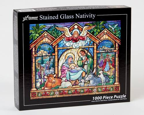 Puzzle Christmas Stained Glass Nativity 1000 Piece Jigsaw