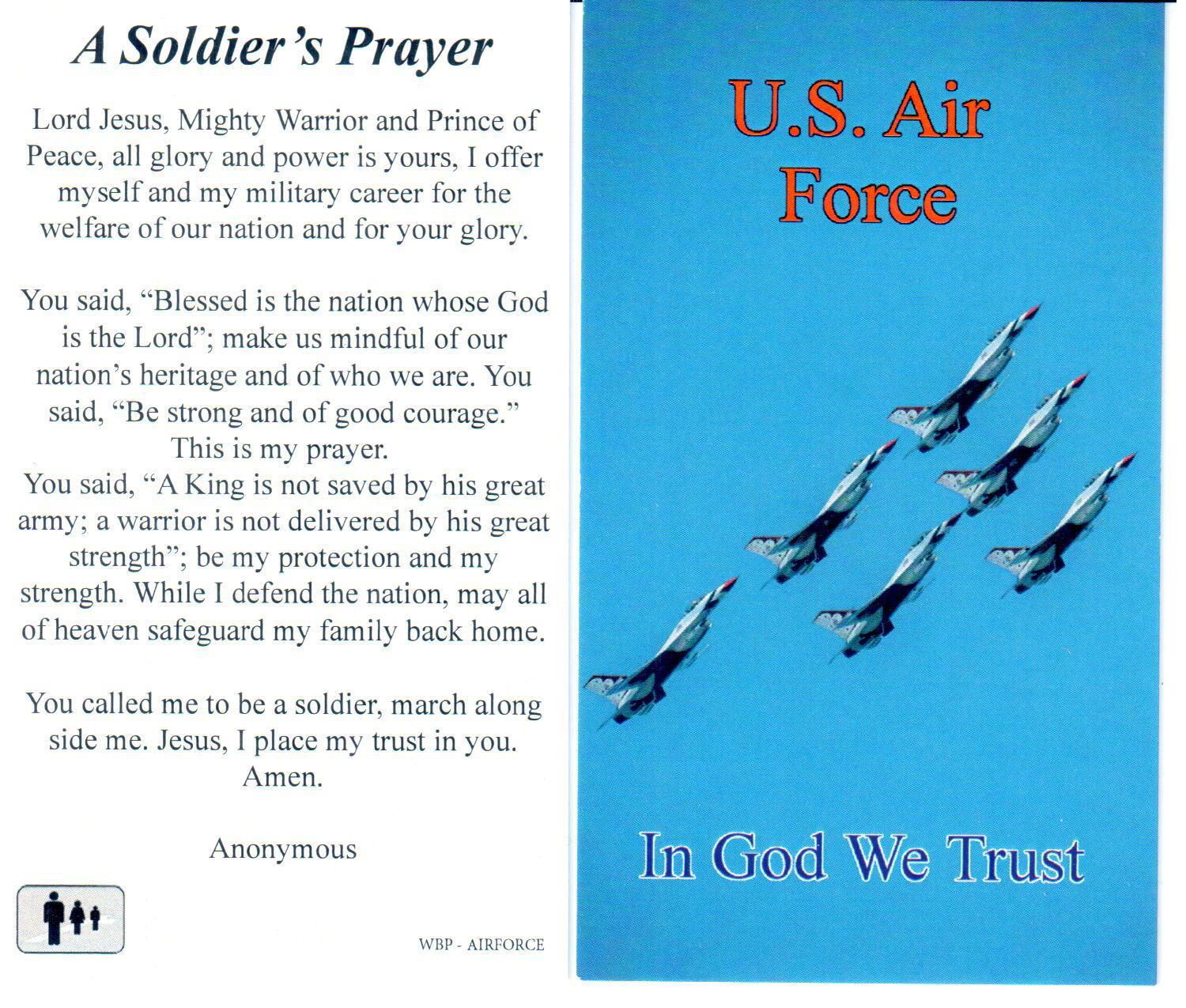 Prayer Holy Card Military US Air Force Laminated