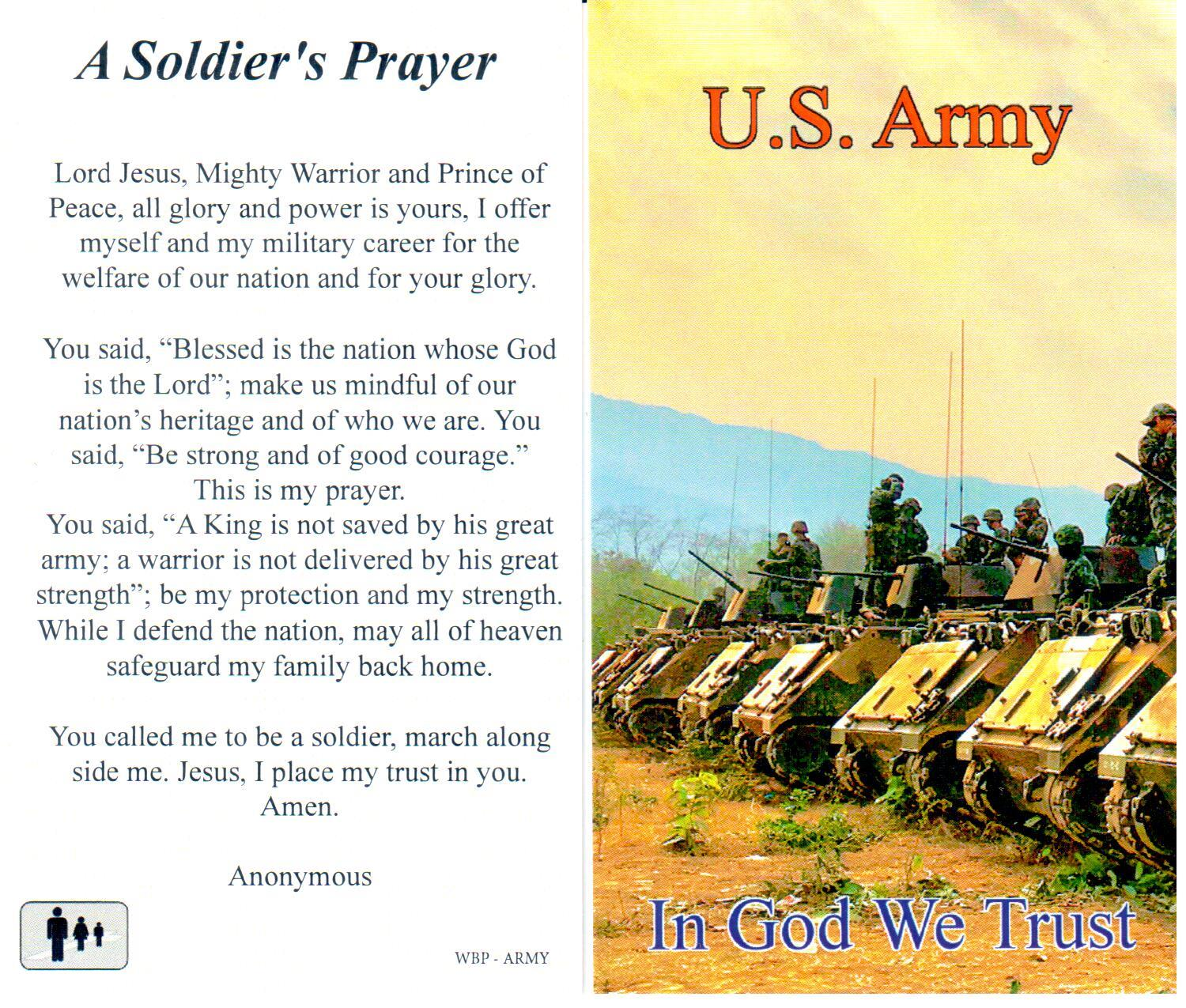 Prayer Holy Card Military US Army Laminated
