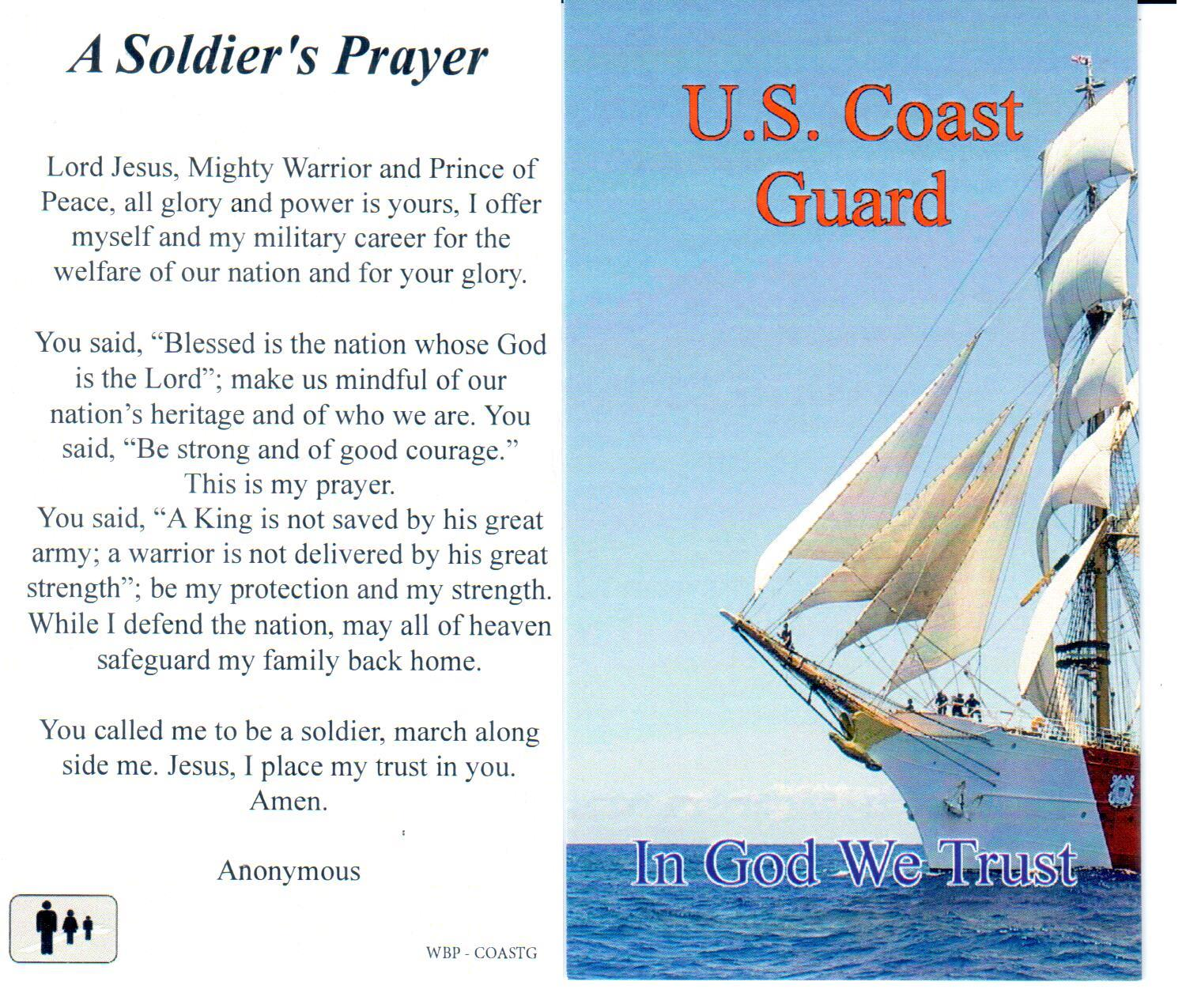 Holy Prayer Card Military US Coast Guard Laminated