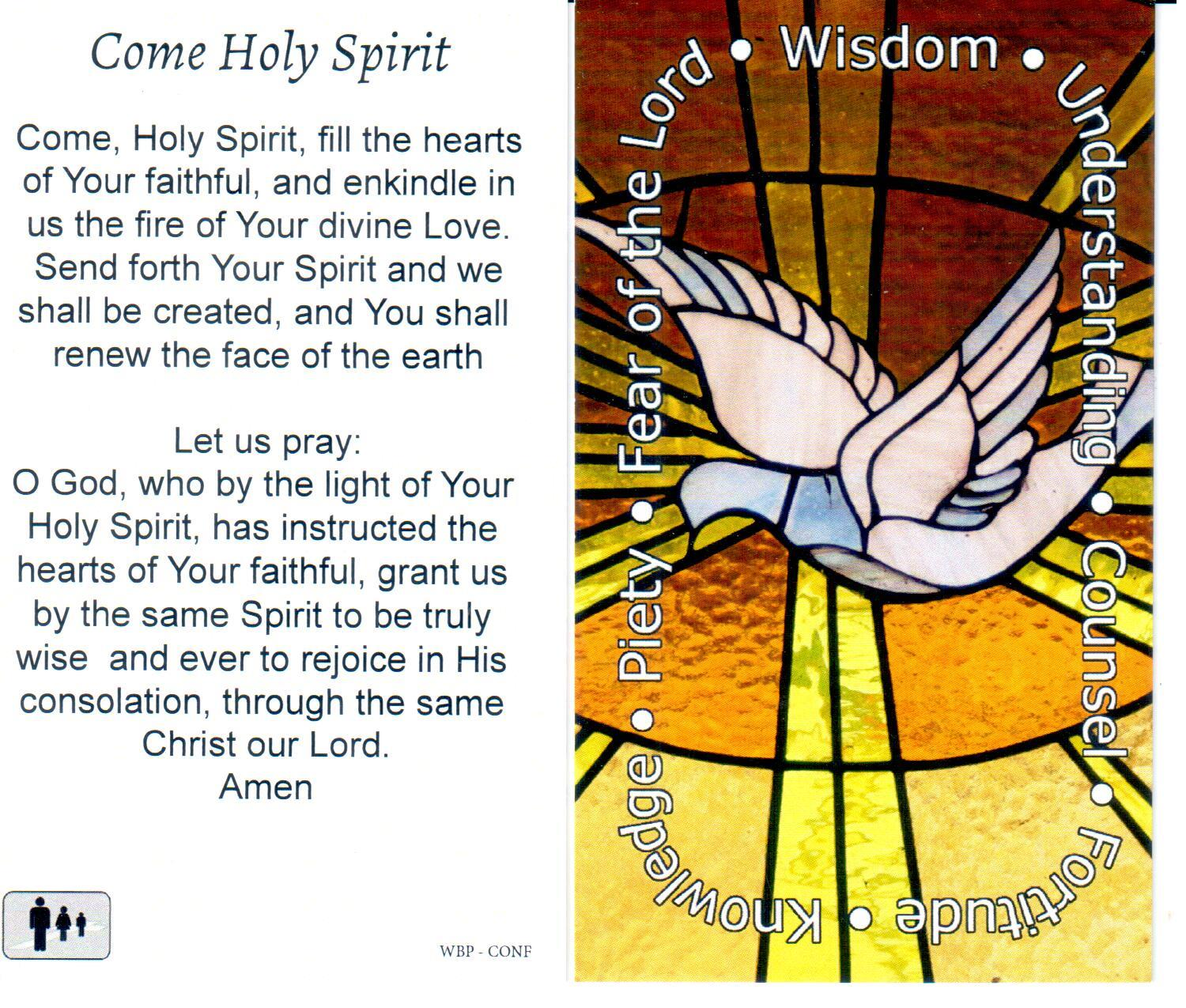Prayer Holy Card Holy Spirit Confirmation Laminated
