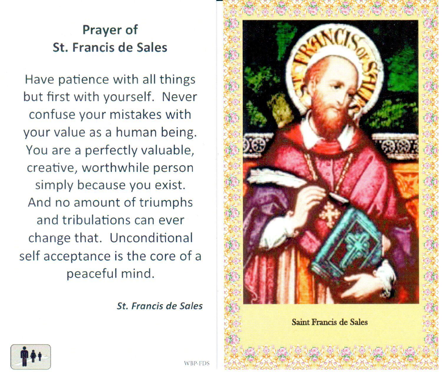 Prayer Holy Card St Francis de Sales Laminated