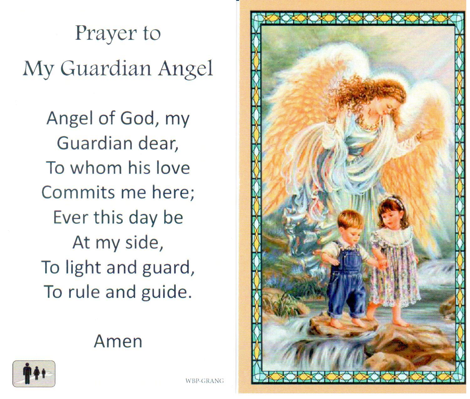 Prayer Holy Card Guardian Angel Laminated