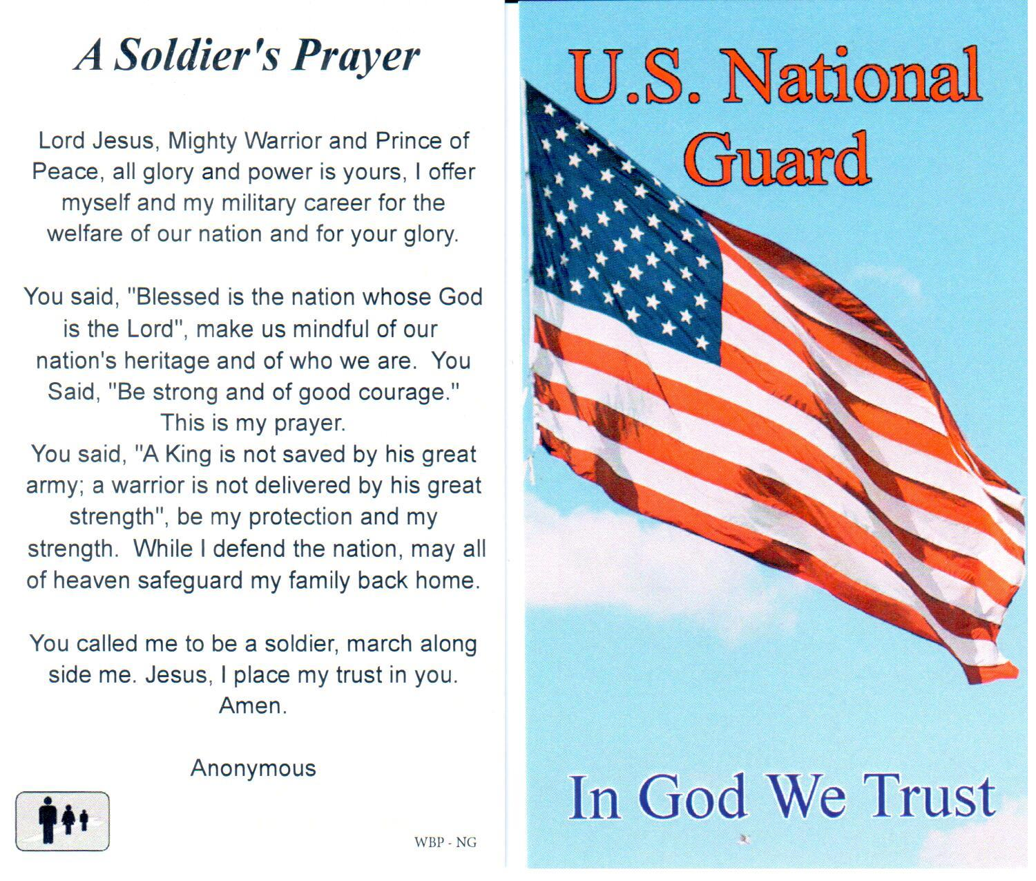 Prayer Holy Card Military US National Guard Laminated