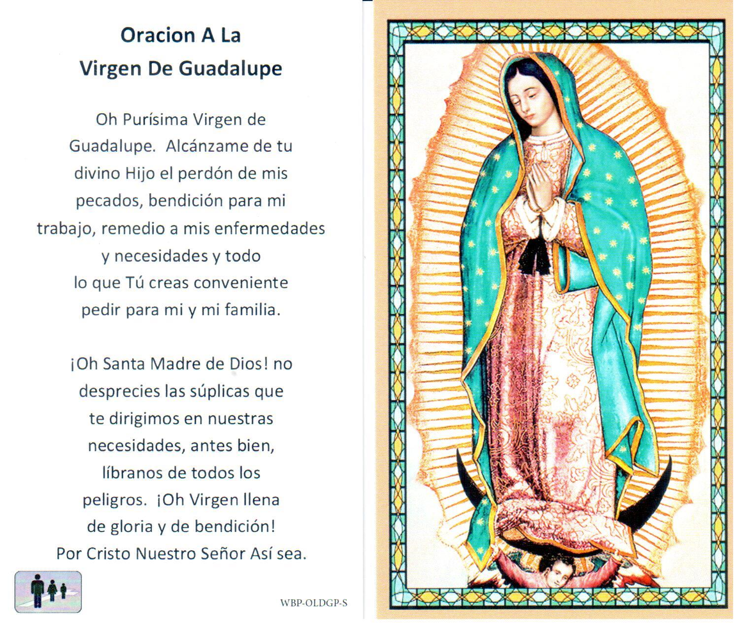 Prayer Holy Card Mary Our Lady of Guadalupe Spanish Laminated