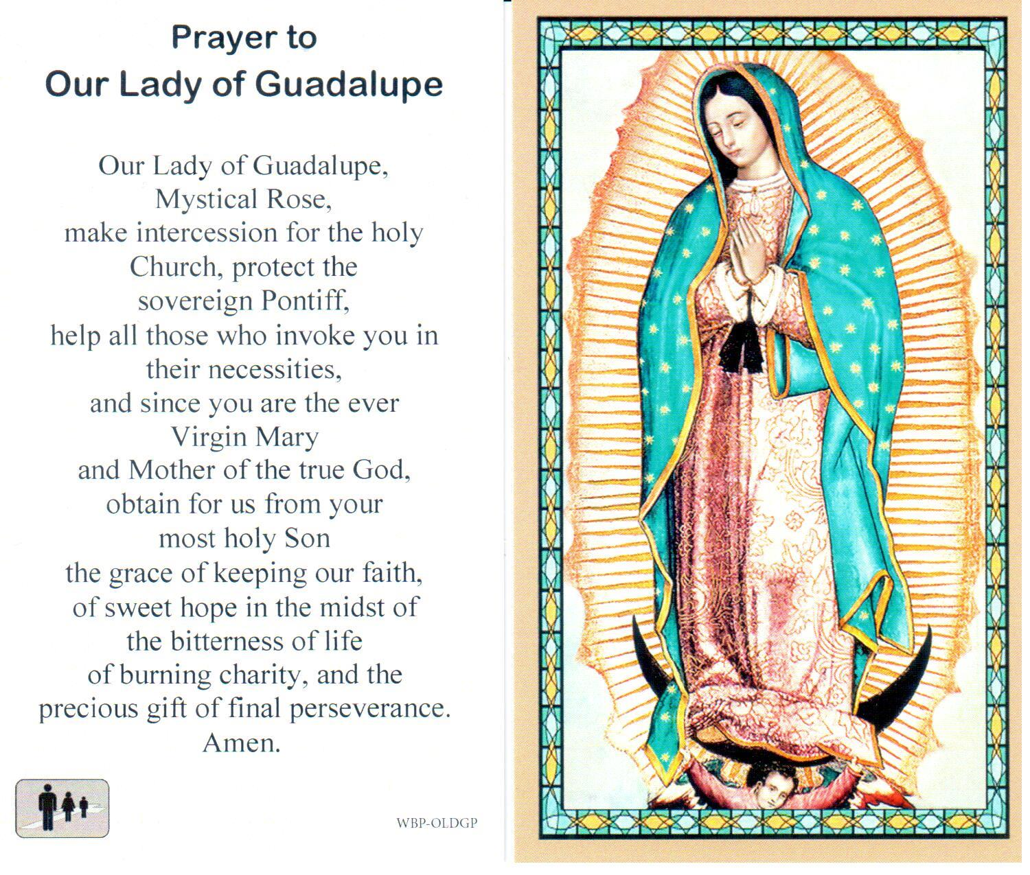 Prayer Holy Card Mary Our Lady of Guadalupe Laminated