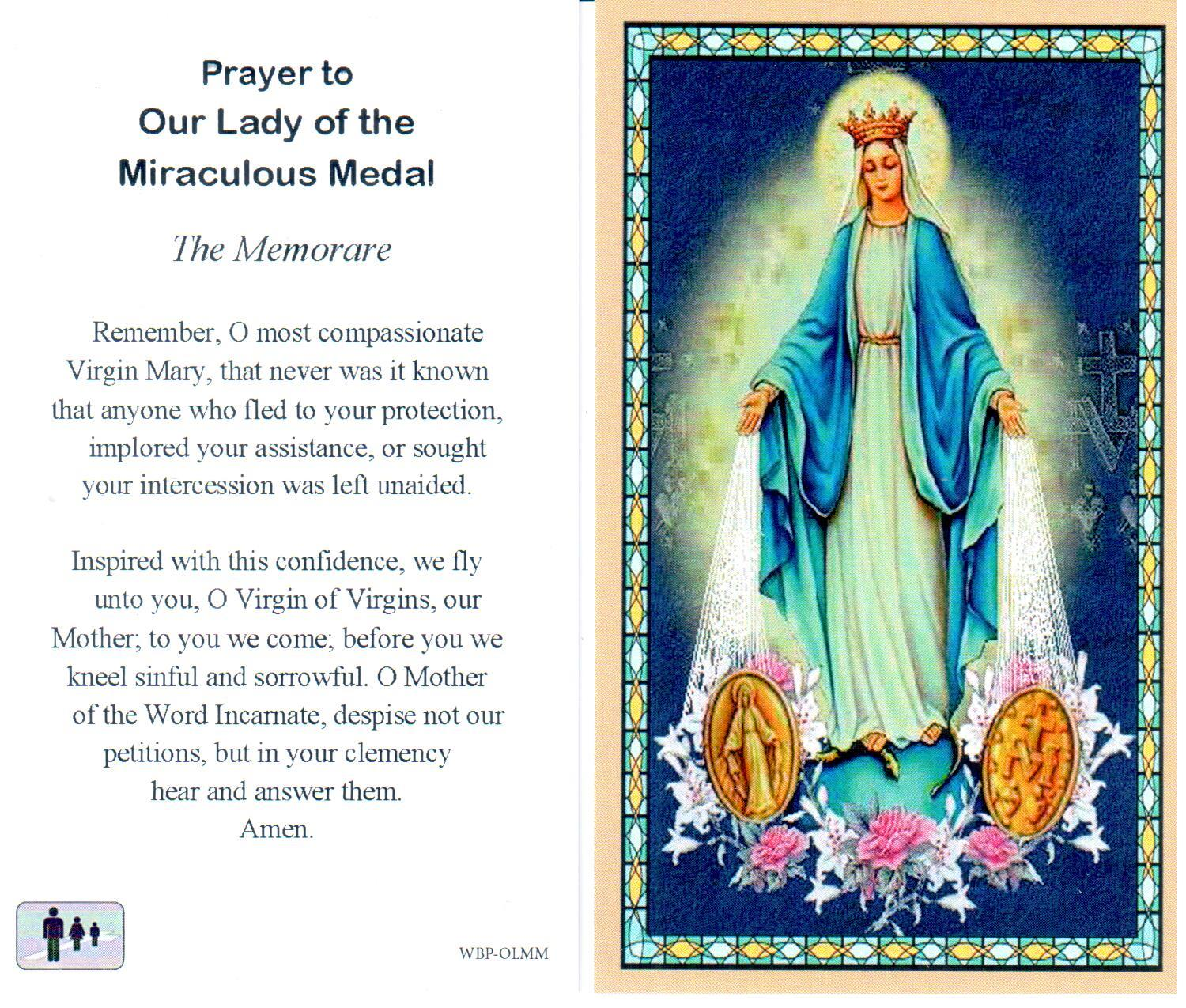 Prayer Holy Card Mary Our Lady of the Miraculous Medal Laminated