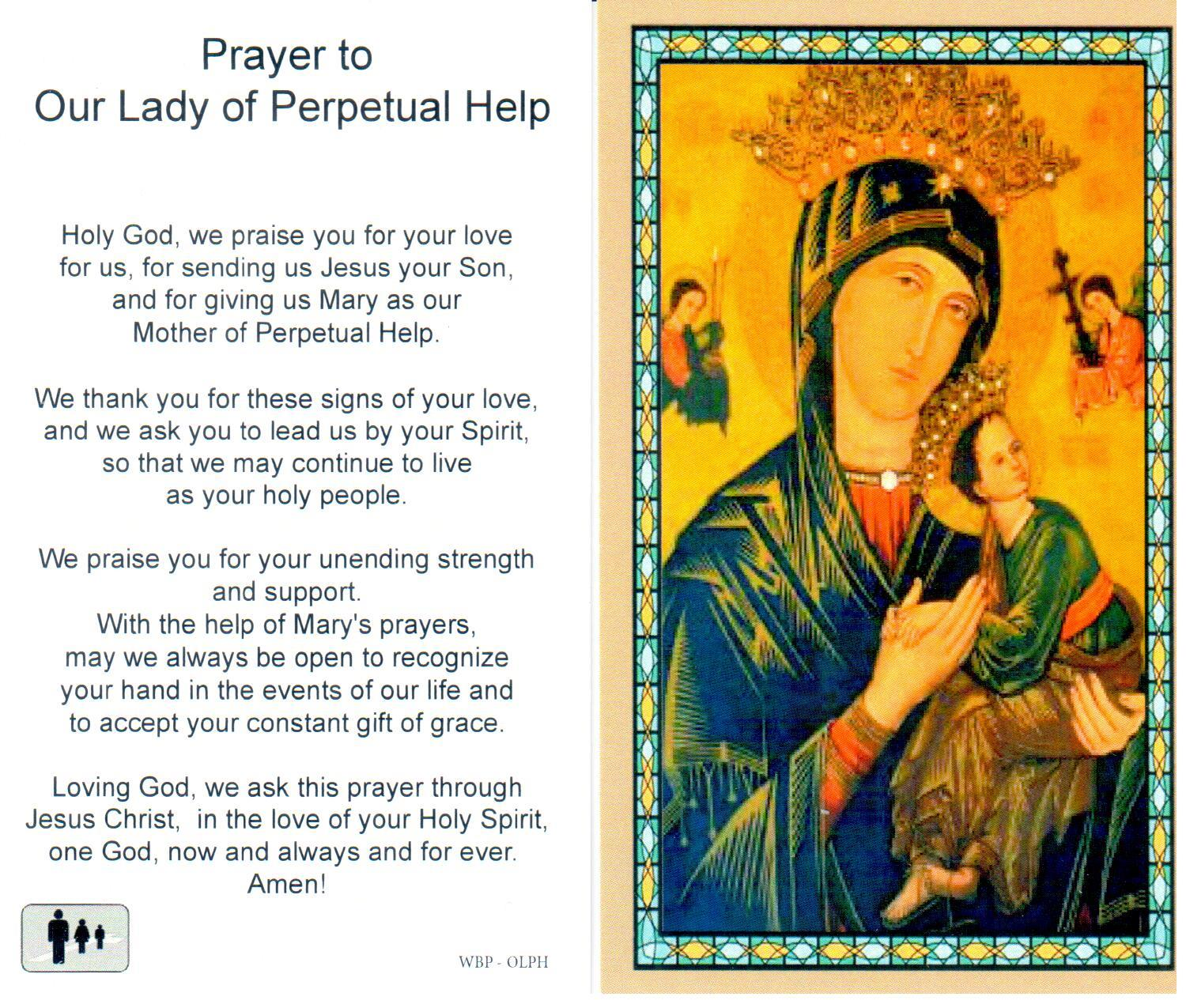 Holy Prayer Card Mary Our Lady of Perpetual Help Laminated