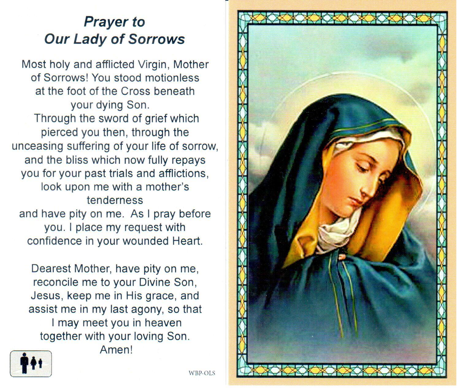 Prayer Holy Card Mary Our Lady of Sorrows Laminated