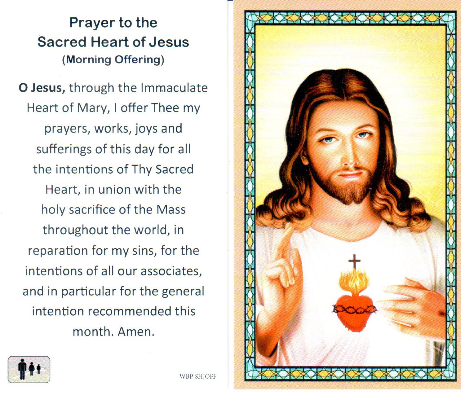 Holy Prayer Card Sacred Heart of Jesus Laminated