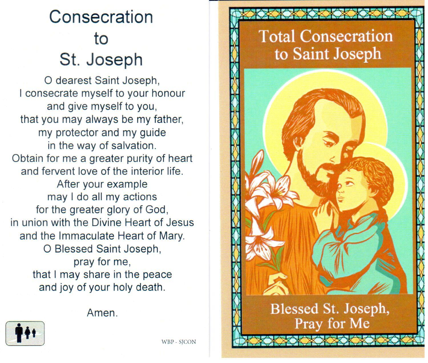 Holy Prayer Card Consecration to St Joseph Laminated