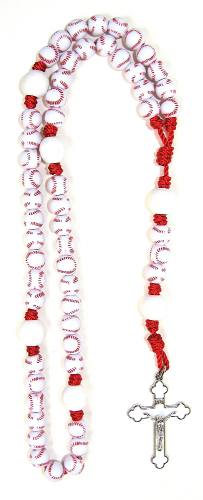 Rosary Baseball Beaded Cord Sports Blessings