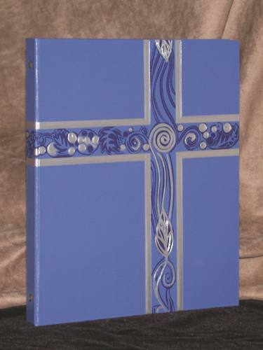 Ceremonial Binder Blue & Silver Foil Three Ring