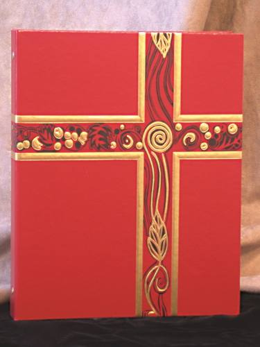 Ceremonial Binder Red & Gold Foil Three Ring