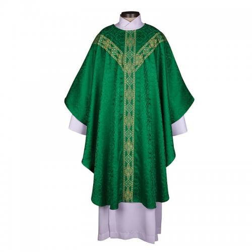 Chasuble Avignon Collection Green with Gold Banding