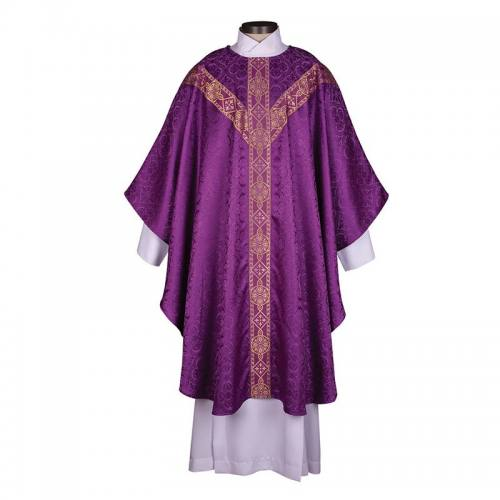 Chasuble Avignon Collection Purple with Gold Banding