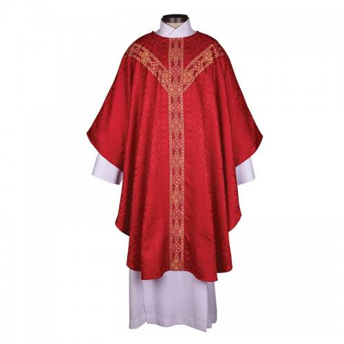Chasuble Avignon Collection Red with Gold Banding
