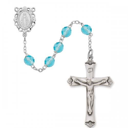 Rosary Miraculous Medal Ster Silver Aquamarine March Birthstone