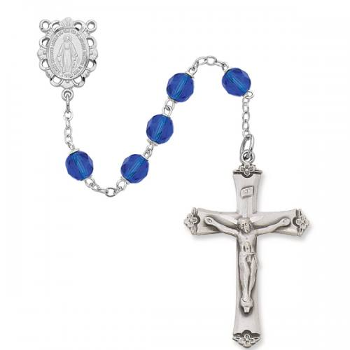 Rosary Miraculous Medal Ster Silver Sapphire Sept Birthstone